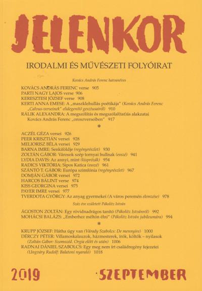 Ágoston Zoltán  (Szerk.) - Jelenkor - Irodalmi és művészeti folyóirat - 2019. szeptember