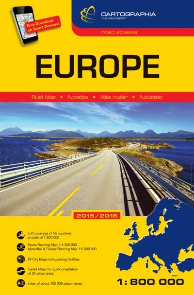- Európa autóatlasz (kötött) 1:800000